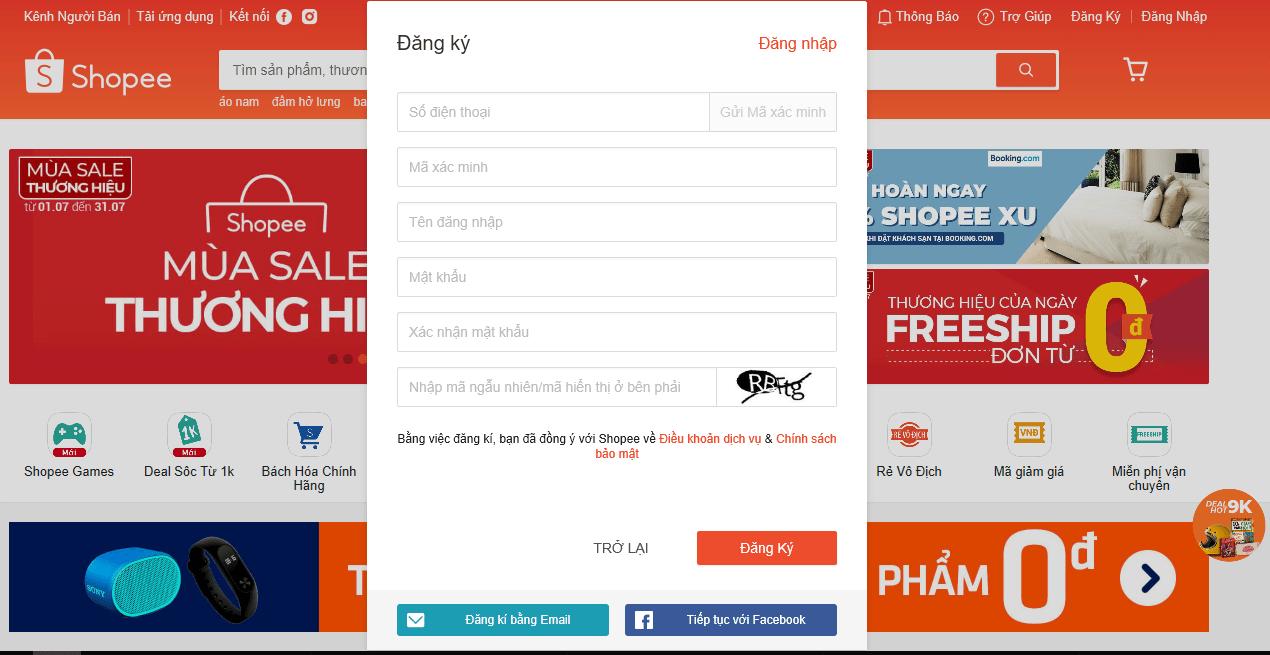 Đăng ký tài khoản Shopee